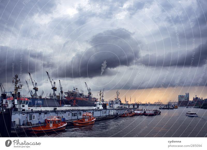 Hamburg Natur Wasser Wolken Umwelt dunkel Bewegung Wege & Pfade Horizont Wasserfahrzeug Verkehr Tourismus planen Ziel Güterverkehr & Logistik Hafen