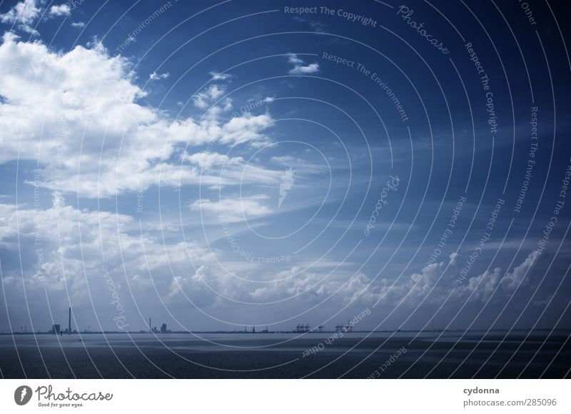 Weitsichtig Güterverkehr & Logistik Umwelt Natur Landschaft Wasser Himmel Wolken Sommer Nordsee Meer Schifffahrt Hafen Container einzigartig Freiheit Horizont