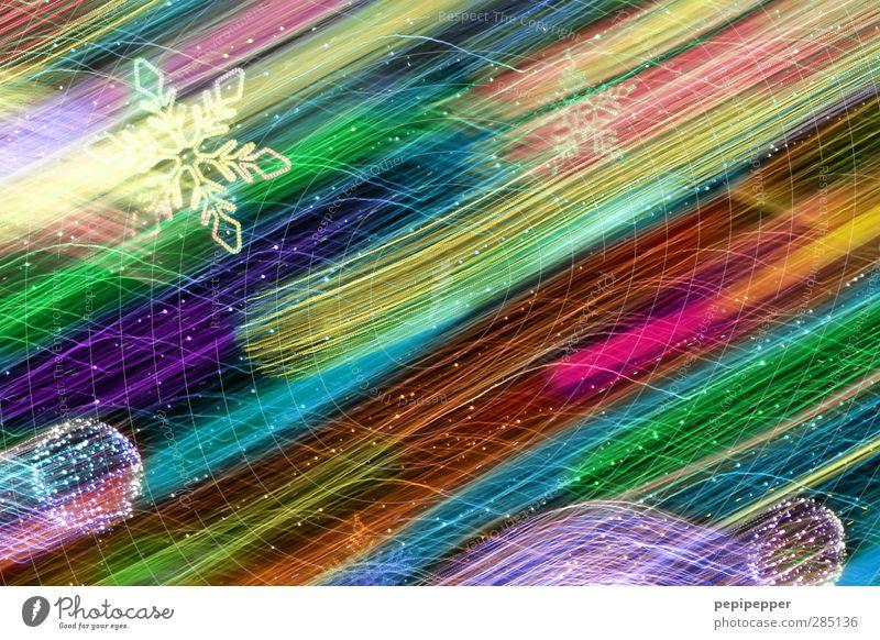 farbenfroh Weihnachten & Advent Kunst Kunstwerk Graffiti Kreuz Linie Streifen Bewegung Stern (Symbol) Kugel Christbaumkugel Schneeflocke Außenaufnahme