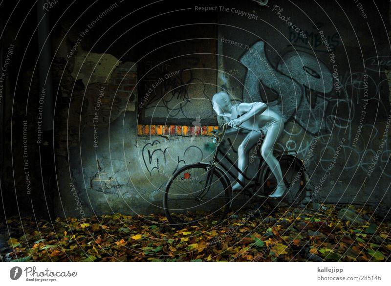 silversurfer Mensch Mann Erwachsene Graffiti Sport Mauer Mode Körper Fahrrad Haut maskulin Verkehr Geschwindigkeit fahren Fitness Fahrradfahren