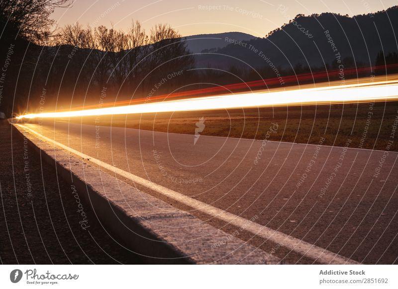 Auto-Lichtspuren PKW Geschwindigkeit Straße lang abstrakt Wege & Pfade Belichtung Hintergrundbild Nacht Natur Ferien & Urlaub & Reisen Lastwagen Bewegung