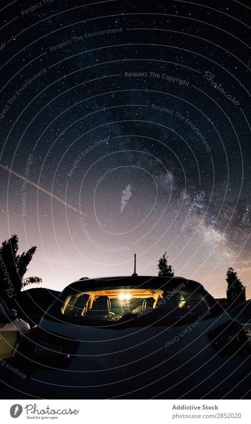 Milchstraße Galaxie Weg milchig Nacht Himmel Landschaft Berge u. Gebirge PKW sternenklar Weltall Hintergrundbild dunkel Natur Ferien & Urlaub & Reisen Stern