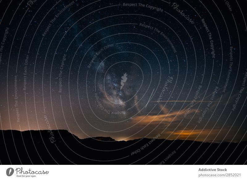 Milchstraße Galaxie Weg milchig Nacht Himmel Landschaft Berge u. Gebirge sternenklar Weltall Hintergrundbild dunkel Natur Ferien & Urlaub & Reisen Stern hell
