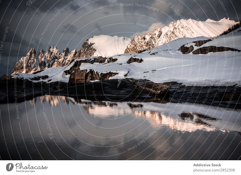 Insel Senja, Norwegen Landschaft Schnee Winter Norweger Berge u. Gebirge Fjord Arktis Meer Eis kalt Natur Norden Wasser Himmel Skandinavien