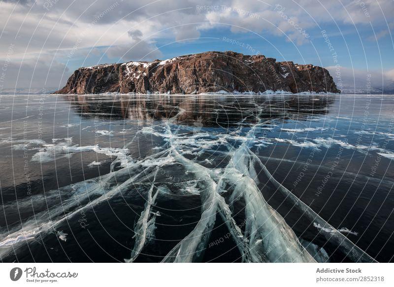 Baikalsee, Sibirien See Eis Winter gefroren Landschaft Russland Arktis blau kalt Himmel Natur Schnee eisig Menschenleer Frost Ferien & Urlaub & Reisen