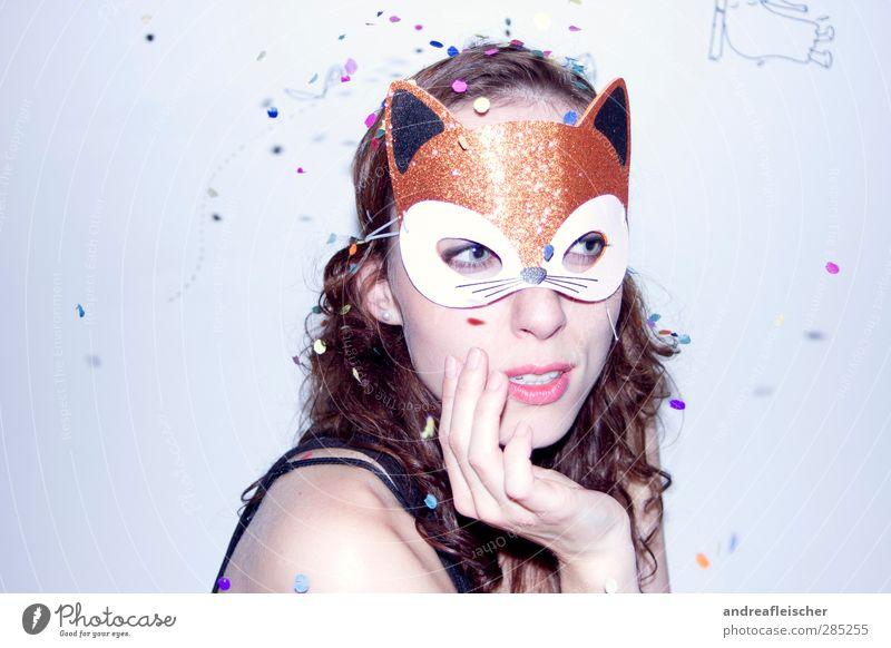 regen ist bunt und nicht grau. miau sagte der fuchs. Katze Mensch Jugendliche Hand Erwachsene Junge Frau feminin Erotik Denken 18-30 Jahre planen Grafik u. Illustration Maske Karneval trendy Dynamik
