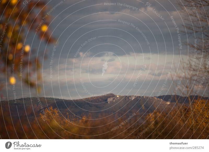 Walberla Natur Landschaft Himmel Wolken Horizont Herbst Schönes Wetter Baum Sträucher Hügel Felsen Berge u. Gebirge Gipfel Kirche Sehenswürdigkeit braun gold