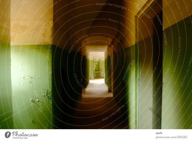 200 - es hat Zoom gemacht alt grün Haus Wand Architektur Mauer Gebäude Tür Beton Häusliches Leben kaputt Vergänglichkeit Verfall Ruine Flur Zoomeffekt