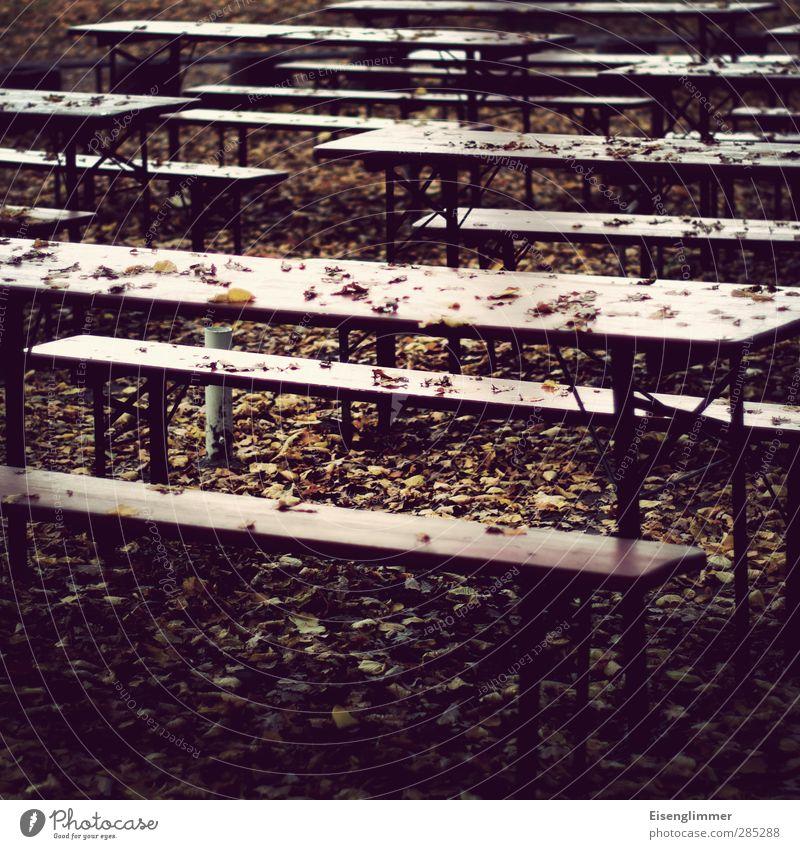 [wpt HH 10.12] Winterpause Einsamkeit Blatt Herbst Garten Park Pause Endzeitstimmung Biergarten Bierbank Biertische