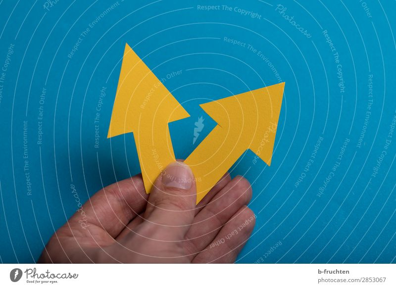 Richtungweisend blau Hand gelb sprechen Wege & Pfade Business Arbeit & Erwerbstätigkeit Büro gehen Kommunizieren Schilder & Markierungen Erfolg Beginn Zukunft