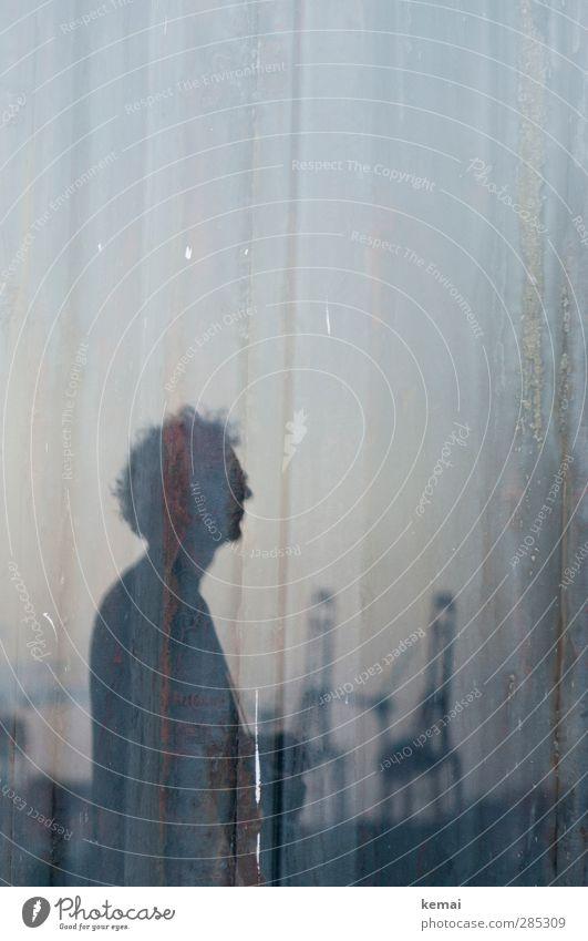 Versunken Mensch Mann ruhig Erwachsene dunkel Leben Kopf Stimmung außergewöhnlich maskulin nachdenklich stehen Hamburg 45-60 Jahre Hafen Kran