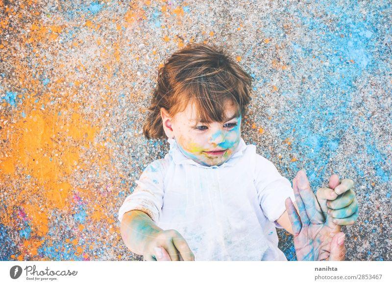 Kind Mensch Farbe Freude Mädchen Lifestyle Leben lustig feminin Gefühle Familie & Verwandtschaft Stil Kunst Spielen Schule Stimmung