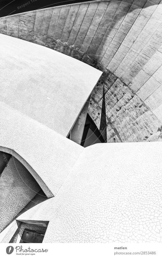 Betonwerk Stadt Menschenleer Bauwerk Architektur Mauer Wand Fassade Tür Wahrzeichen ästhetisch eckig elegant modern rund Teneriffa Schwarzweißfoto Außenaufnahme