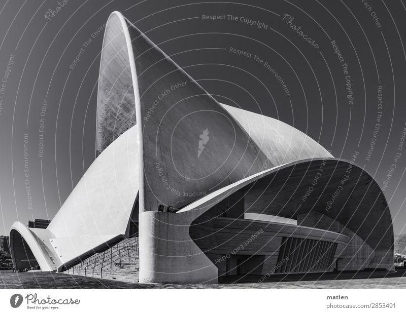 Auditorium Stadt Menschenleer Haus Bauwerk Architektur Mauer Wand Fassade Balkon Fenster Sehenswürdigkeit ästhetisch elegant gigantisch Hörsaal Schwarzweißfoto