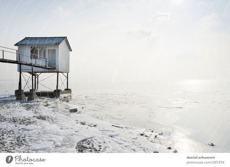 Das Weiße Haus - das Echte !! blau weiß Küste hell Eis Schönes Wetter Frost Seeufer Hütte skurril Bodensee