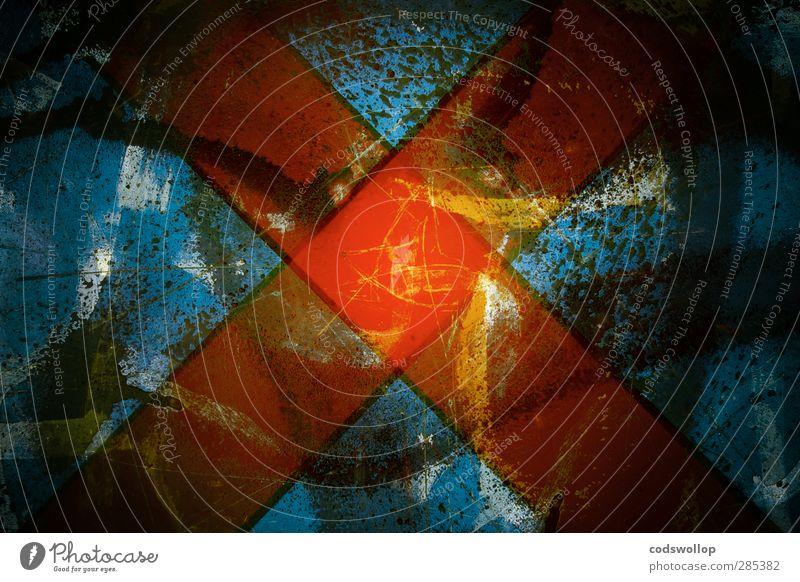 uncanny Zeichen Graffiti blau rot Macht gefährlich ästhetisch Stadt X-Men Kreuz Farbfoto mehrfarbig Innenaufnahme Experiment abstrakt Muster Strukturen & Formen
