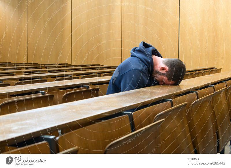 Geknickt Mensch Jugendliche Erwachsene Junger Mann Traurigkeit 18-30 Jahre Schule maskulin sitzen lernen Studium Bildung Student Konzentration Erwachsenenbildung Stress