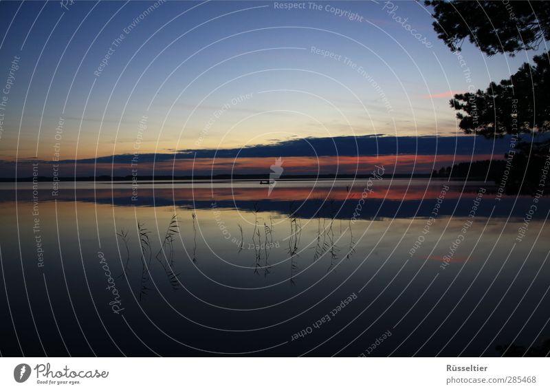 Countdown Natur Landschaft Himmel Sonnenaufgang Sonnenuntergang Sonnenlicht Seeufer Ruderboot Unendlichkeit geduldig ruhig bescheiden Farbfoto mehrfarbig