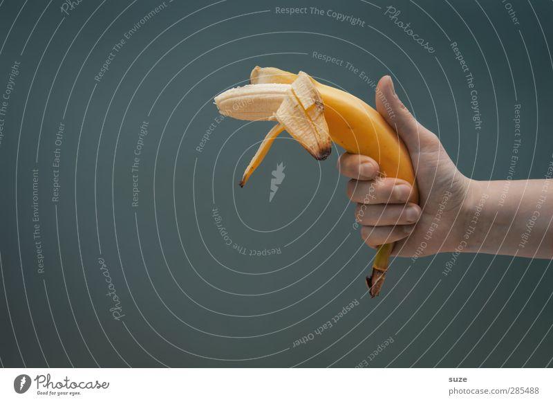 Oho, oh Banana-Joe ... Hand Freude gelb grau lustig Gesunde Ernährung Frucht Arme Lebensmittel verrückt Finger Ernährung Kommunizieren süß Coolness einfach