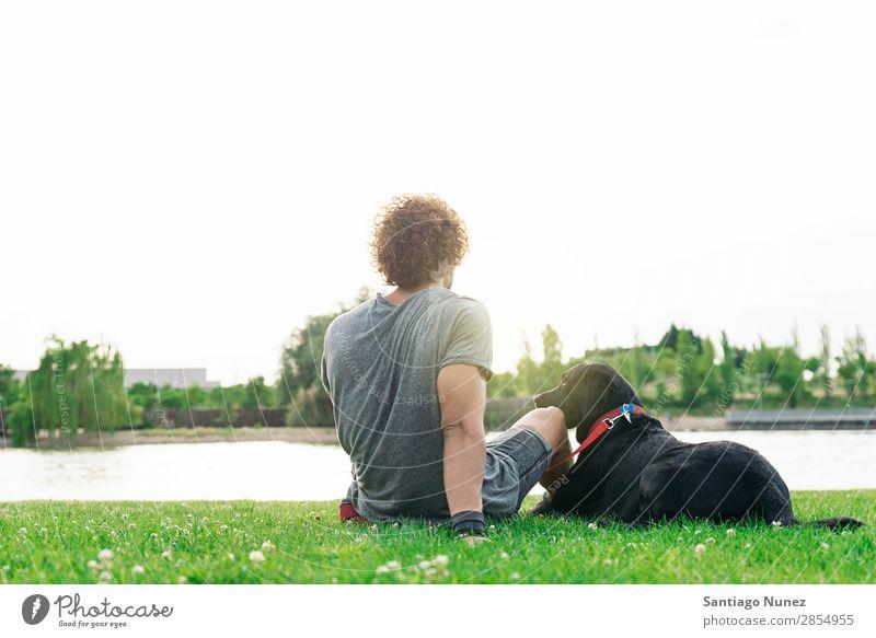 Der Mann hat Spaß mit seinem Hund. Haustier Park Besitzer Mensch grün anleinen laufen Tier Streicheln Glück Lifestyle Erwachsene Typ Himmel Sommer Kaukasier
