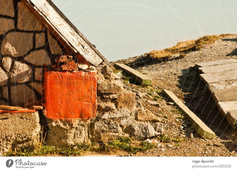 Weg ins Ungewisse Natur Landschaft Haus Umwelt Berge u. Gebirge Wand Wege & Pfade Mauer Stein Felsen wandern Fußweg Hütte Rumänien Karpaten Siebenbürgen