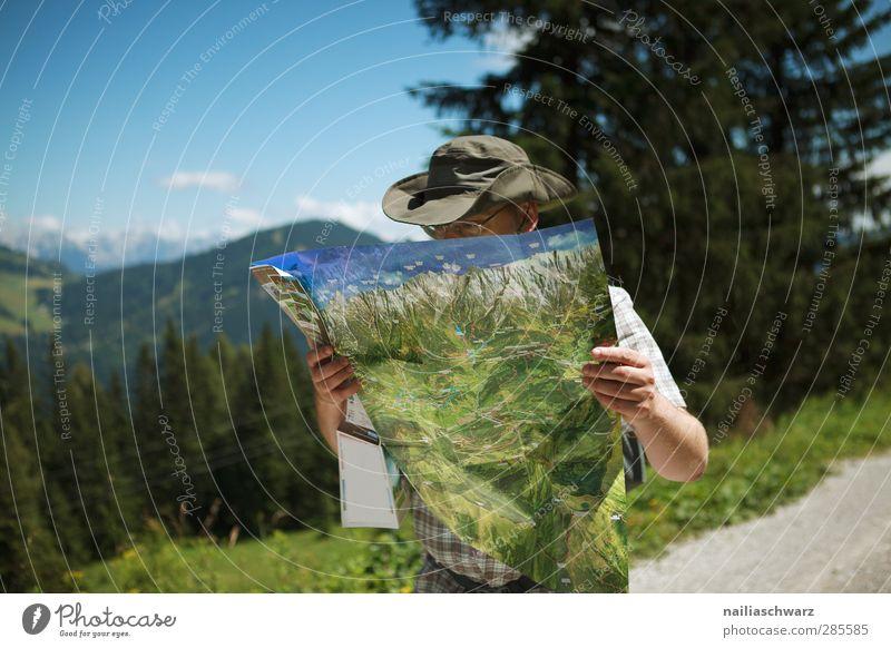 Wandern Mensch Himmel Natur Ferien & Urlaub & Reisen blau Sommer Baum Landschaft Wald Erwachsene Berge u. Gebirge grau braun maskulin Freizeit & Hobby Tourismus