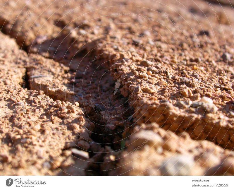 Erdfalte braun trocken Erde Bodenbelag Falte Riss Schatten Nahaufnahme