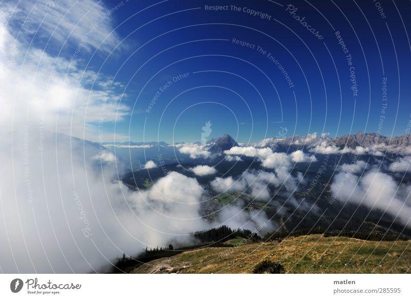 Wolkengrenze Landschaft Erde Himmel Horizont Herbst Klima Schönes Wetter Gras Hügel Felsen Berge u. Gebirge Gipfel Menschenleer blau braun grün weiß bewölken