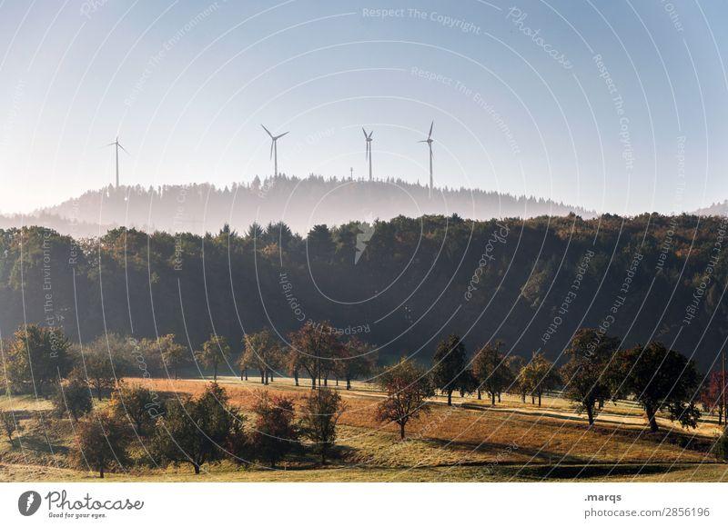 Natur & Technik Energiewirtschaft Erneuerbare Energie Windrad Landschaft Wolkenloser Himmel Herbst Baum Wiese Wald Hügel Stimmung nachhaltig Zukunft Farbfoto