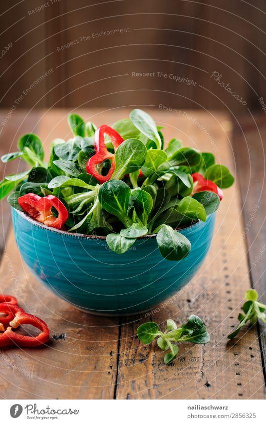Salat Gemüse Salatbeilage Feldsalat Paprika Ernährung Bioprodukte Vegetarische Ernährung Diät Schalen & Schüsseln Lifestyle Gesundheit Gesundheitswesen