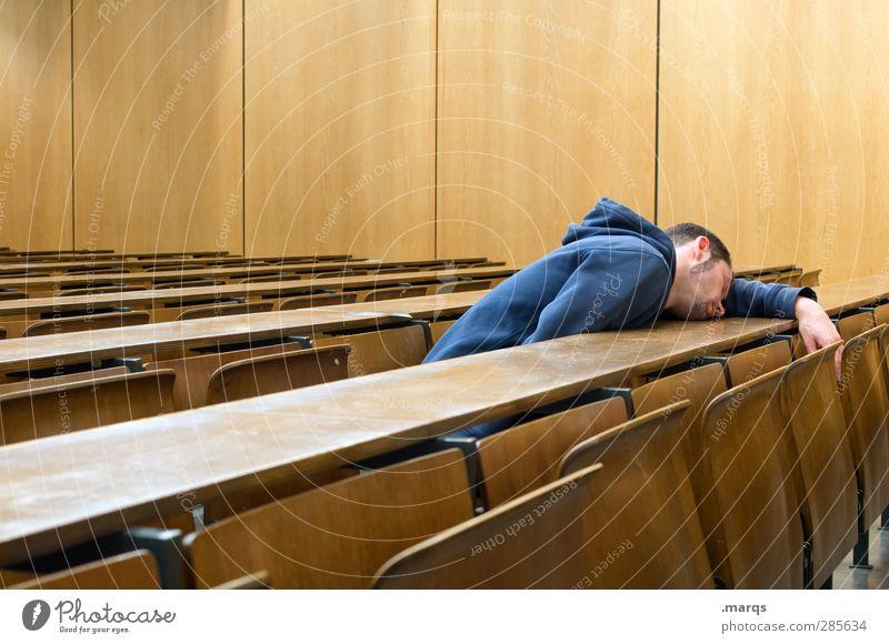 Erschöpfung Mensch Jugendliche Erwachsene Junger Mann Schule 18-30 Jahre sitzen maskulin lernen Studium schlafen Pause Bildung Student Erwachsenenbildung Stress