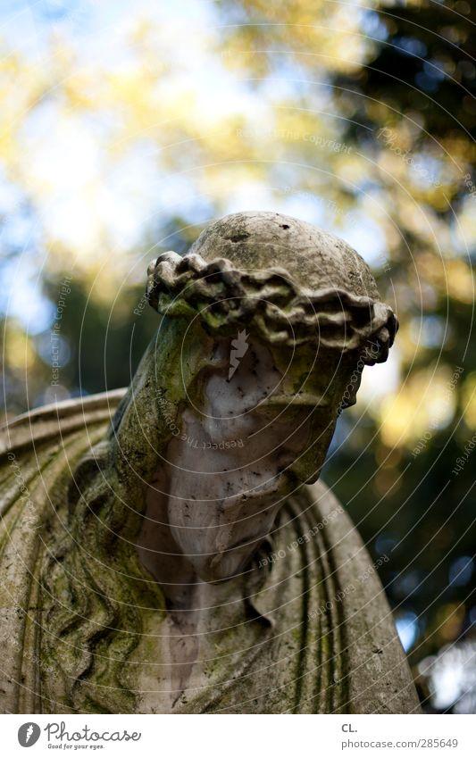 statue Natur alt Wald Herbst Tod Senior Traurigkeit Religion & Glaube Stein Park Schönes Wetter Vergänglichkeit Trauer Glaube historisch Vergangenheit