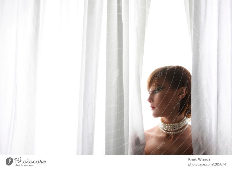 Julia II schön Mensch feminin Junge Frau Jugendliche Erwachsene 1 18-30 Jahre Erotik Vorhang Halskette Schminke Schmuck Tuch Farbfoto Studioaufnahme
