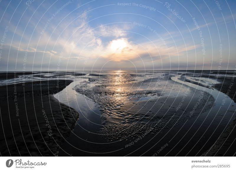 Watt Natur Landschaft Urelemente Sand Wasser Himmel Wolken Sonnenaufgang Sonnenuntergang Schönes Wetter Küste Bucht Nordsee Meer Ferne frisch gigantisch