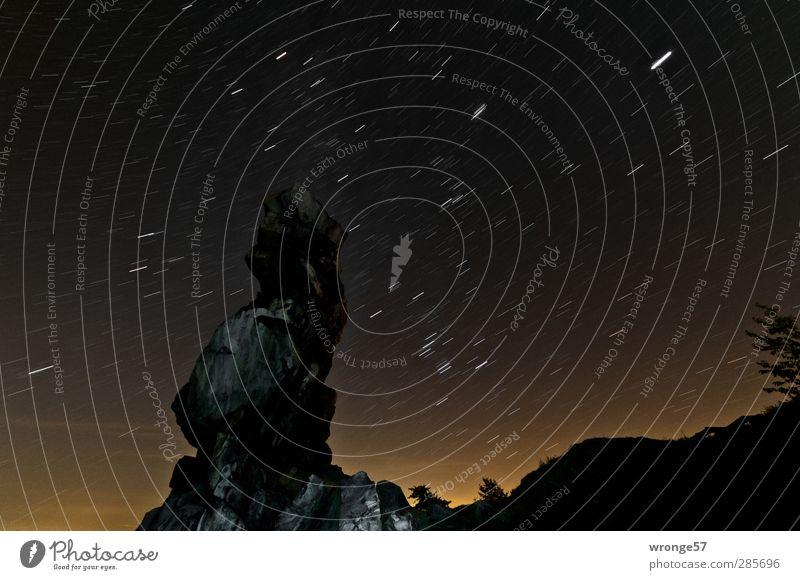Orions Spur Himmel Natur Landschaft Berge u. Gebirge Herbst Felsen Stern Schönes Wetter beobachten entdecken Nachthimmel Harz Stativ