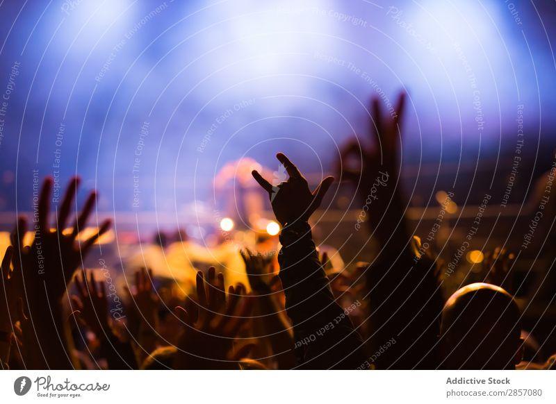 Menschenmenge beim Konzert akustisch Publikum Hintergrundbild Band Bass Takt Feste & Feiern Applaus Menge Tanzen Disco Veranstaltung Festspiele Nebel Licht live