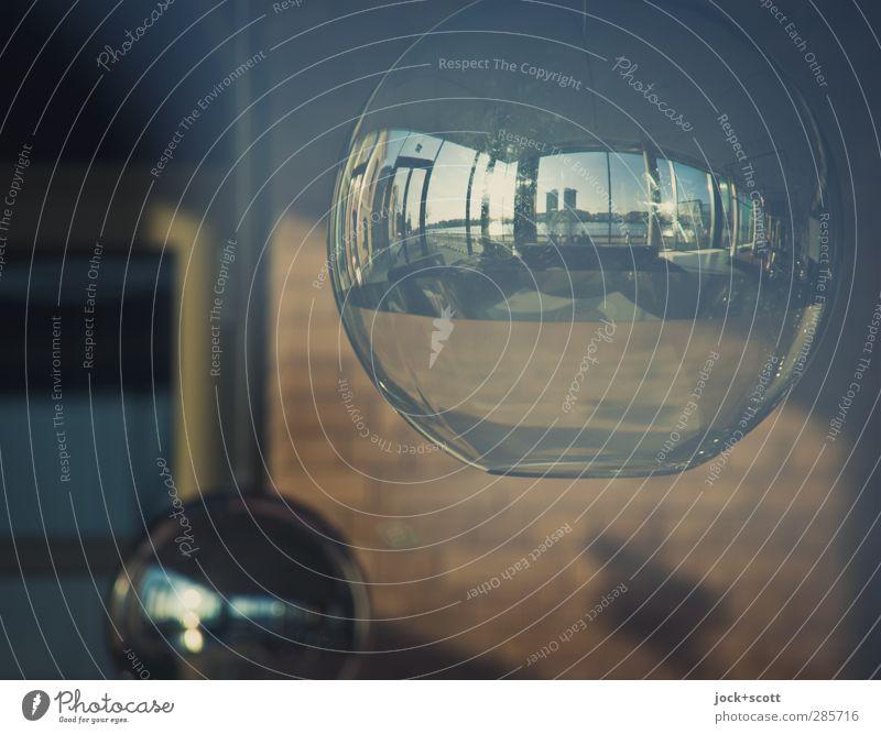 Lampe & Spiegel elegant Design Lounge Wolkenloser Himmel Sommer Schönes Wetter Spree Wand Fenster Dekoration & Verzierung Metall Oval glänzend leuchten nah