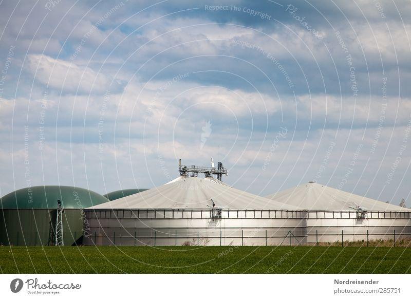 Biogas blau grün Umwelt Metall Energiewirtschaft Zukunft Technik & Technologie neu Landwirtschaft Bauwerk silber Umweltschutz nachhaltig Forstwirtschaft