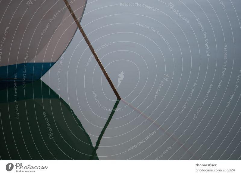 Anker (nicht im Bild) Sommer Meer Einsamkeit ruhig Erholung Zeit Stimmung Wasserfahrzeug Freizeit & Hobby Zufriedenheit Ausflug Idylle Schönes Wetter Seil