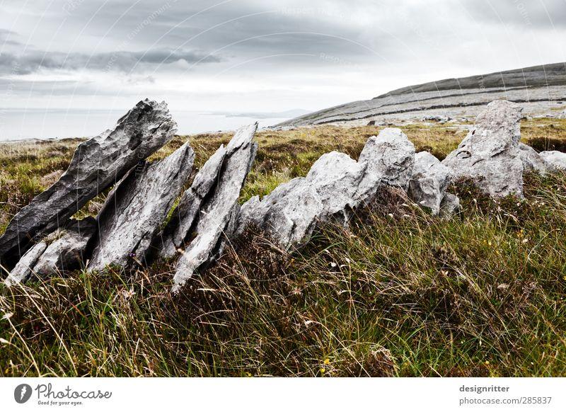 An Bhoireann Ferien & Urlaub & Reisen Tourismus Gras Hügel Felsen Berge u. Gebirge alt eckig fest historisch Sicherheit Schutz ruhig standhaft bizarr Einsamkeit