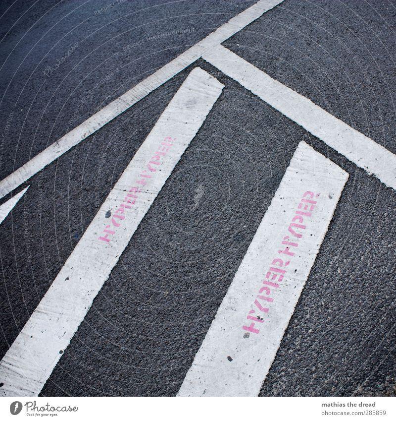 HYPER HYPER Freude Graffiti Party rosa Schilder & Markierungen Schriftzeichen Zeichen Straßenkunst Techno Fahrbahnmarkierung Schablone