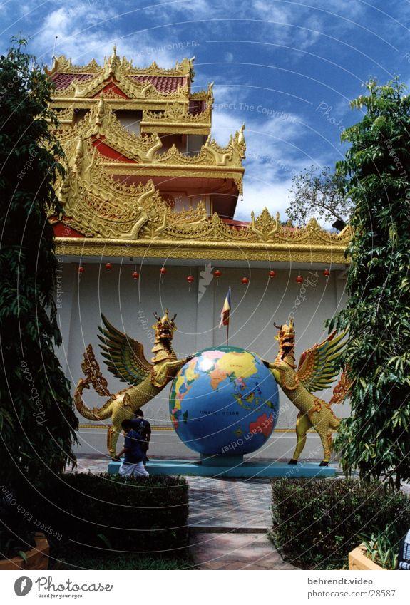 Indisch-burmesischer Tempel Religion & Glaube gold Globus Indien Landkarte Malaysia Penang