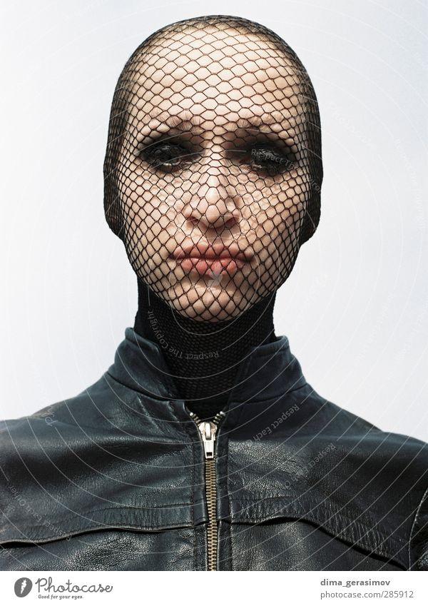 Maske schön Mensch feminin Junge Frau Jugendliche Erwachsene Kopf 1 18-30 Jahre Mantel Leder frech trashig mehrfarbig schwarz Traurigkeit Schmerz schuldig Angst