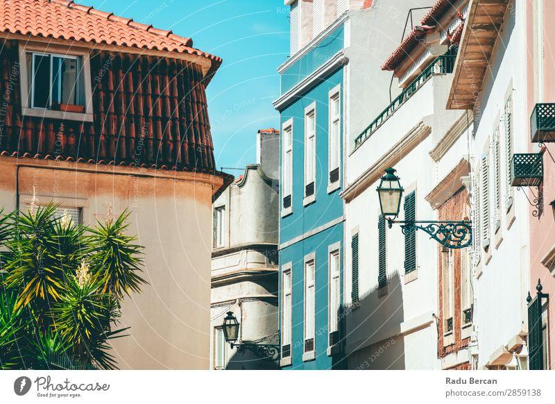 Bunte Gebäude in der schmalen Straße in Cascais City of Portugal Stadt Lissabon Großstadt blau Sommer Himmel Ferien & Urlaub & Reisen Landschaft Architektur
