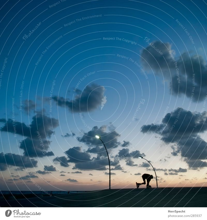 Auf die Plätze... Mensch Himmel Jugendliche blau Sommer Meer Wolken 18-30 Jahre Ferne Erwachsene Sport Küste laufen Schönes Wetter ästhetisch Fitness