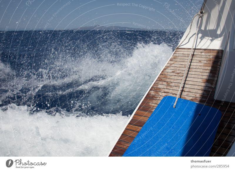 Speed blau Ferien & Urlaub & Reisen Sommer Sonne Meer Freude Ferne Sport Freiheit Horizont Wellen Wind Geschwindigkeit Perspektive Schönes Wetter Abenteuer