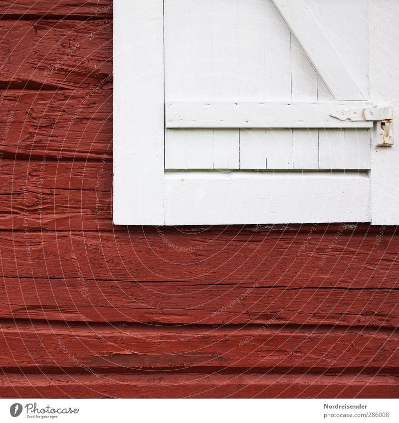 Rot - Weiss Freiheit Ruhestand Haus Hütte Bauwerk Gebäude Architektur Fassade Fenster Holz Freundlichkeit Fröhlichkeit frisch kuschlig nachhaltig natürlich rot