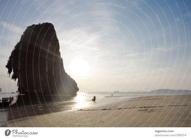 Thailand - Phra Nang Beach - Krabi Natur Ferien & Urlaub & Reisen Wasser Meer Strand Landschaft Berge u. Gebirge Küste Freiheit Sand Felsen Reisefotografie Tourismus Insel Idylle Bucht