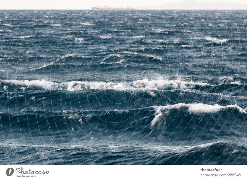 bewegtes Griechenland Natur blau Wasser Sommer Meer Küste grau Freiheit Horizont Wellen Angst Kraft Wind nass Ausflug gefährlich
