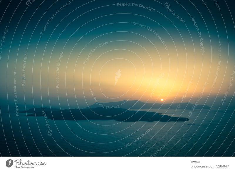 Insel der Sonne Himmel blau Ferien & Urlaub & Reisen Wasser Sommer Meer Einsamkeit ruhig schwarz Erholung gelb Wärme Horizont orange Tourismus